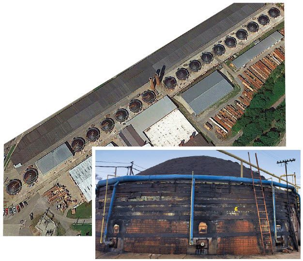 Aerial photo of 20 beehive kilns in a row servicing Plant 4 have an annual capacity of 20-22 million brick equivalent per year, which is nearly 10% of Belden's annual capacity. Entrance to kiln is secured for safety so no one can enter while kiln is in service.