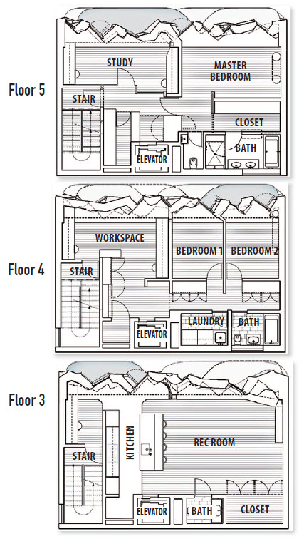 Three of seven floor plans show the kitchen as well as work and living spaces in relation to the thickness of the brick street wall. Balconies at each floor extend these living spaces through the brick façade. The floor transitions from wood to concrete to meet the geometry of the interior brick.