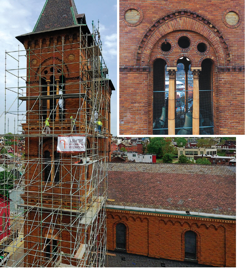 Though inspection was not required at Our Lady of the Angels, trustees were concerned about the possibility of broken elements falling to the ground. Drone footage was able to capture images that couldn't be seen with binoculars from the sidewalk and less expensive and less costly than erecting scaffolding for the inspection.
