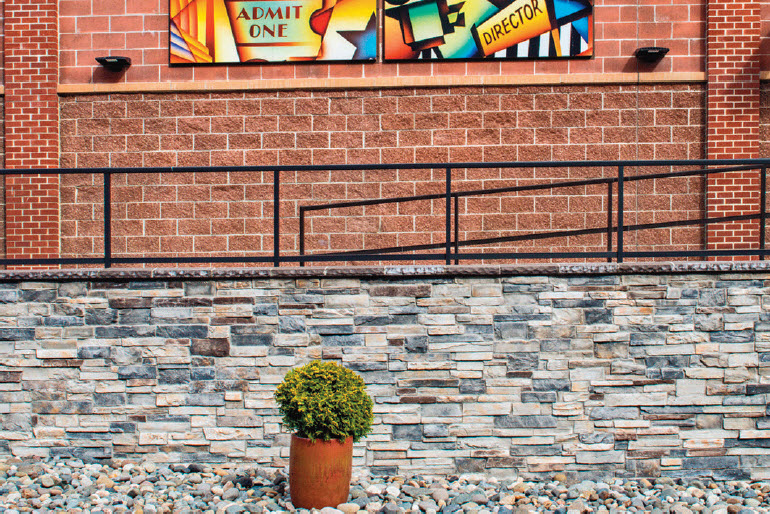 Cocoa CMU in ground face and smooth face, Echo Ridge cultures stone, Columbus Red Mission textured face brick at Century Theatre at Point Ruston, Tacoma WA
