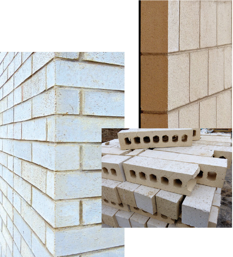 White Executive and Dolomite brick clad separate areas of the eSupply Fulfillment Center, assisting in distinguishing between the two wings with color, shape and size variation.