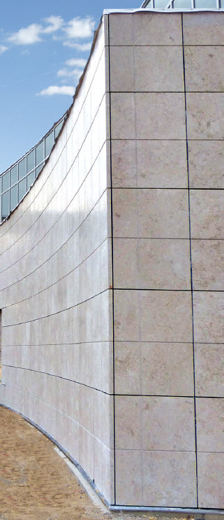 Cut with precision, the 4' x 4' imported Jerusalem limestone creates an elegant concave and convex shape on the headquarters building.