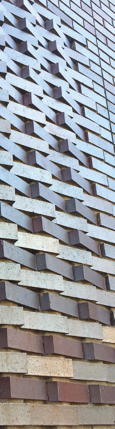 Level 400 is able to model each brick in the wall as to positioning and degree of rotation for precision in laying this cross hatch pattern