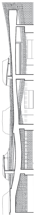 Section drawing cut through brick façade and balconies shows continuity of the façade and its relationship to the interior