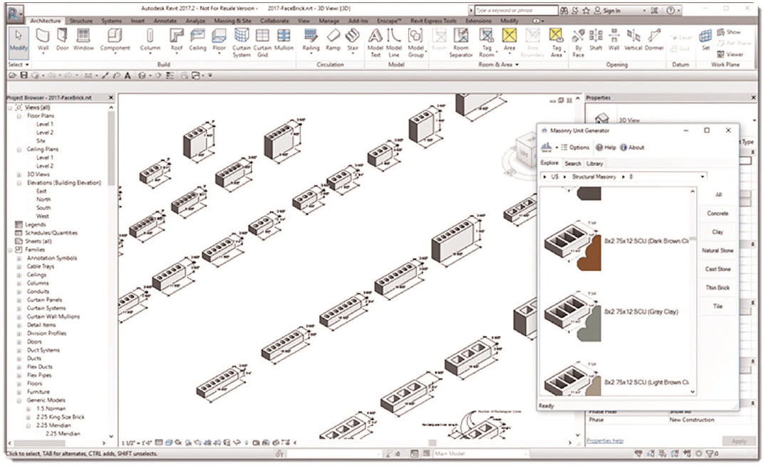 Autodesk Revit users can also download Masonry Unit Generator, which is a free plugin that reaches into the MUD directly from Revit at mudb.org/category.php?cat=revit.