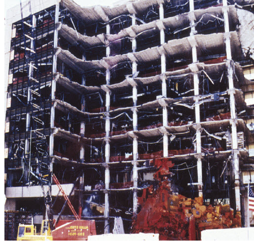 Figure 15 – A domestic terrorist bombing destroyed the Murrah Federal Office Building and destroyed or damaged 324 buildings in the surrounding area of Oklahoma City, OK, 1995