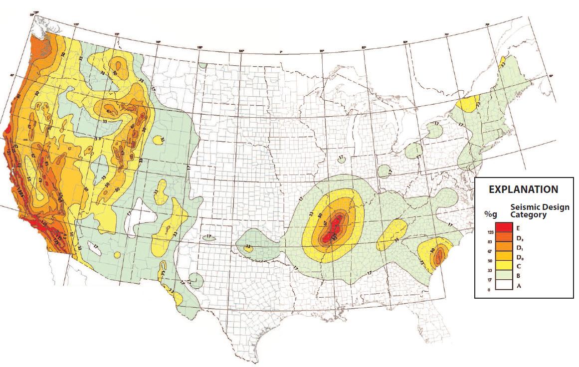 Figure 12 – US Geological Survey and FEMA Seismic Hazards Map illustrating US seismic zones.