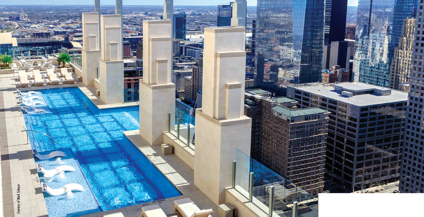 Definitely unique, Market Square Tower sports two pool decks, one on the second level over the motor court, the other on the 40th level extends eight feet in glass beyond the face of the building. View from pool deck includes the Houston Skyline with a stately parapet of burnished CMU capped with cast stone. Regardless of how many people actually use this noted attraction, it certainly will be the talk of the town.