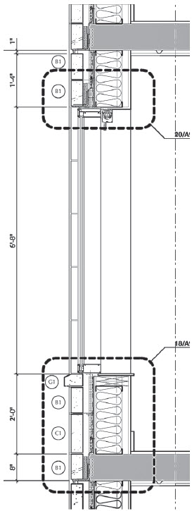 """Typical floor wall section: Masonry coursed on an 8"""" module to minimize cuts. Each masonry profile is labeled and keyed to match manufacture's standard module."""