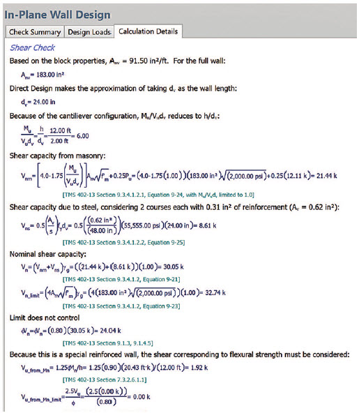 Figure 2. Detailed code checks from TMS 402