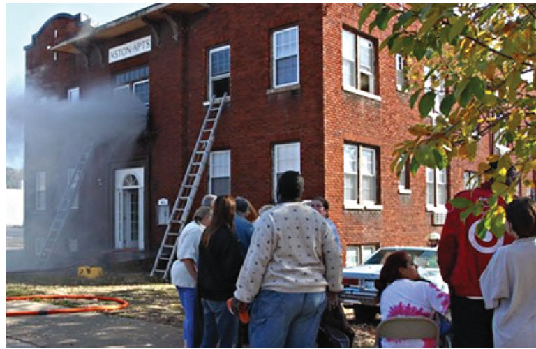 Figure 5 - Masonry's ability to compartmentalize fire may prevent it's spread beyond the room of origin.