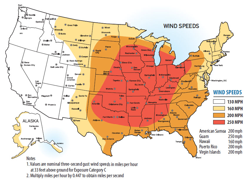Figure 6 –Wind Speed Areas in the Continental United States taken from the IBC