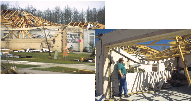 Flamingo Lakes subdivision, built pre SSTD 10-93 in Orlando, was hit by tornadoes in 1998.