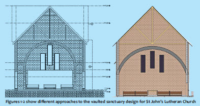 Figures 1-2 show different approaches to the vaulted sanctuary design for St John's Lutheran Church
