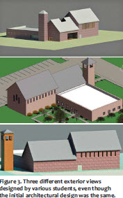 Figure 3. Three different exterior views designed by various students, even though the initial architectural design was the same.