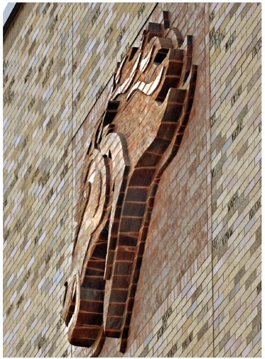 Mountainside Mavericks mascot sculpted from brick.