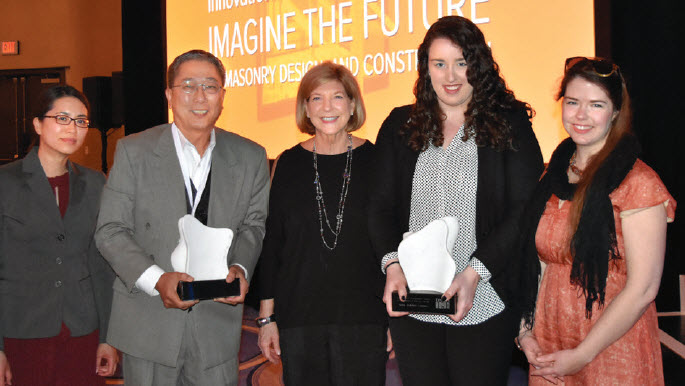 Winners pose with Joan B. Calambokidis, IMI President, and their awards. From left, Anh Nguyen, LEED AP; Shawn Chinudomsub, AIA, NCARB, CCS, LEED AP; Calambokidis; Erin Hunt; and Leslie Forehand.