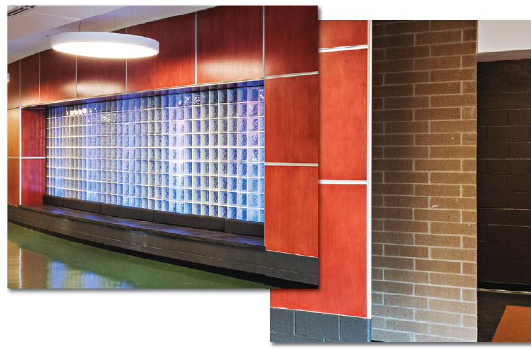 Glass block at performing arts center entrance is back-lit with colored LED lights for dramatic effect at events.